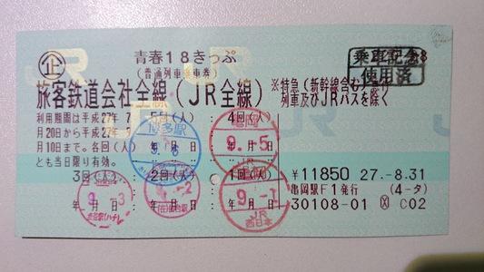 「乗車券 使用済」の押印してもらって記念に